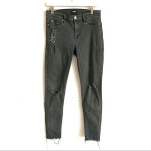 Hudson Nico Gray Distressed Raw Hem Skinny Jeans
